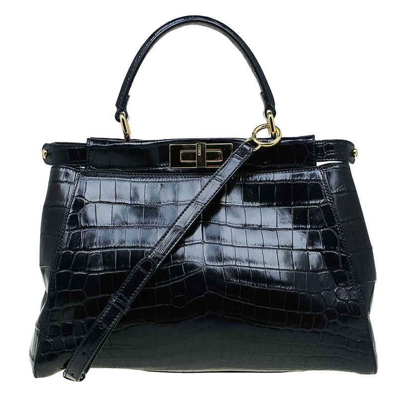 7eaad59bcd01 Buy Fendi Black Crocodile Medium Peekaboo Top Handle Bag 71361 at ...