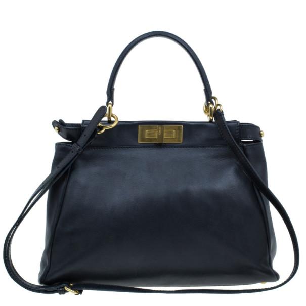 0378c3e95def ... Fendi Black Calfskin Leather Small Peekaboo Tote. nextprev. prevnext