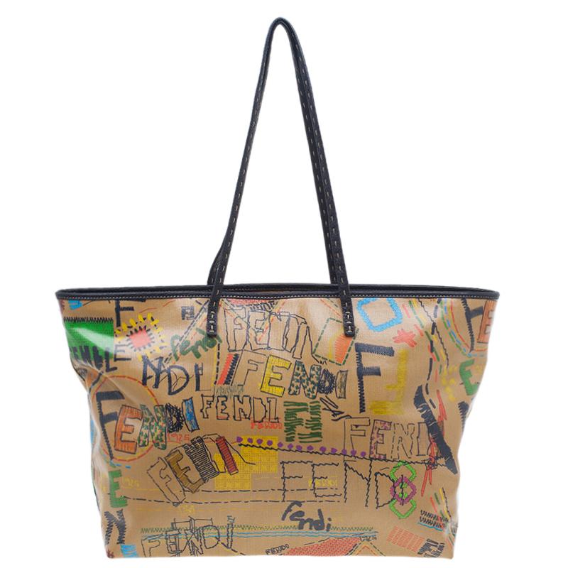 0c4197550f Buy Fendi Graffiti Multicolor Roll Tote Shopper Bag 93090 at best ...