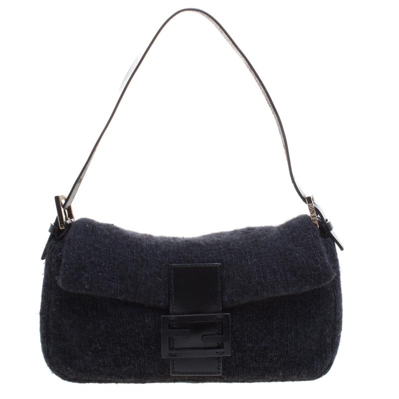 ef730f9725a4 Buy Fendi Black Cashmere Baguette Shoulder Bag 98160 at best price