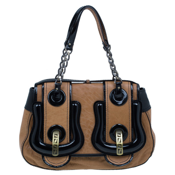 6bb69c9b7e Buy Fendi Brown Leather Patent Trim B Bag 9958 at best price | TLC