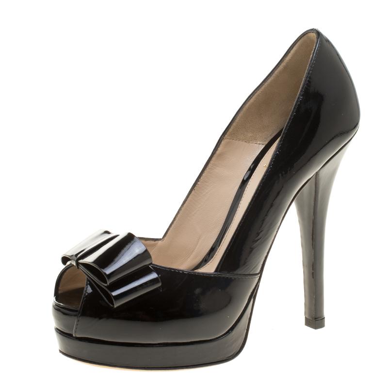 b6814babbbc Buy Fendi Black Patent Leather Deco Peep Toe Bow Platform Pumps Size ...