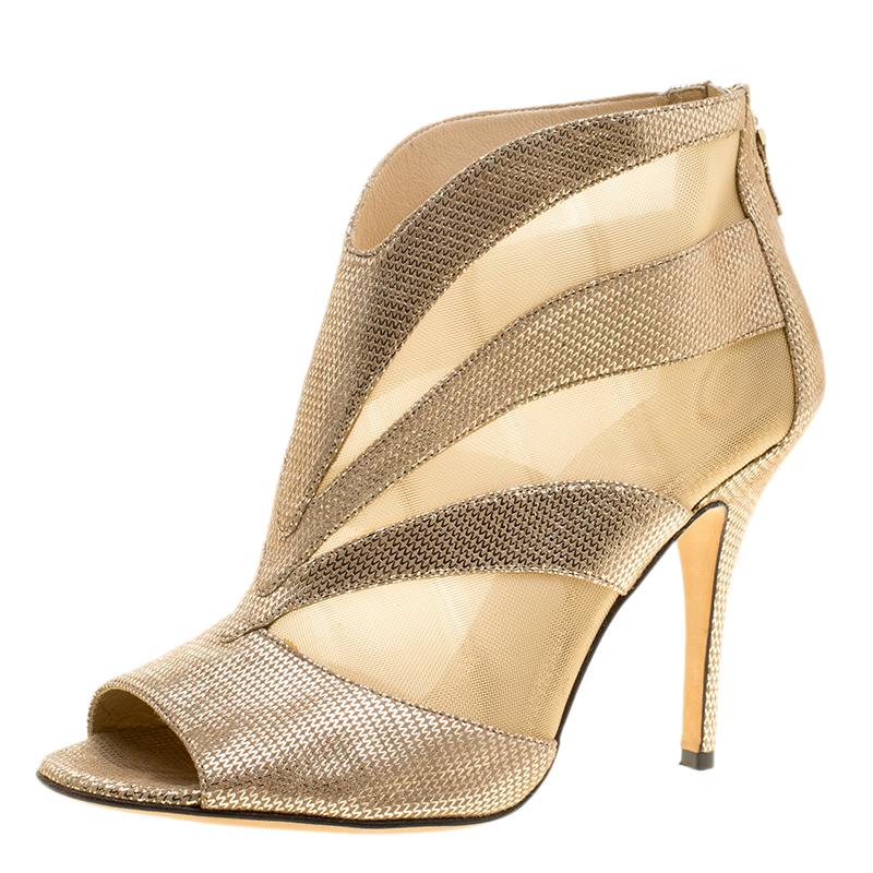 7ba3e698c6cc0a ... Fendi Metallic Gold Suede and Mesh Peep Toe Ankle Booties Size 38.5.  nextprev. prevnext