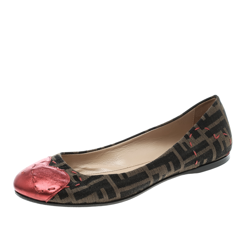 Fendi Zucca Canvas Heart Cap Toe Ballet Flats Size 38.5