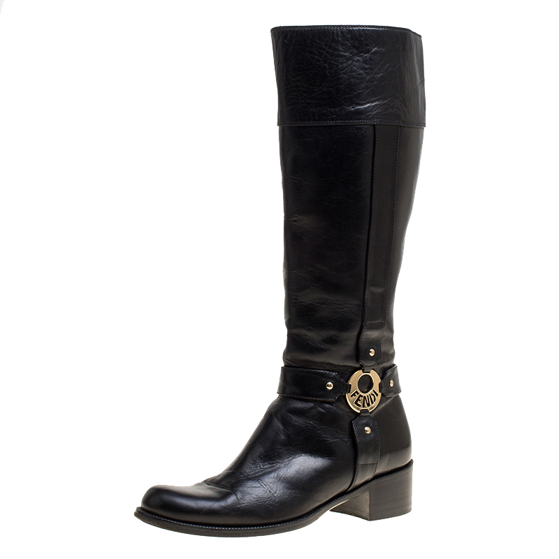 7cc387d07b2 Buy Fendi Black Leather Knee High Boots Size 39 149409 at best price ...
