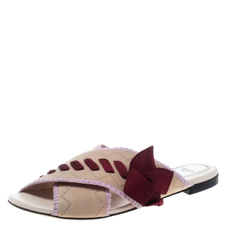 027fa16ba4c6e Buy Fendi Beige Knit Fabric with Contrast Bow Cross Strap Peep Toe ...