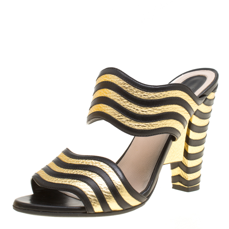 b1824d77aa56 Buy Fendi Black Gold Wave Striped Leather Mules Size 38 159520 at best  price