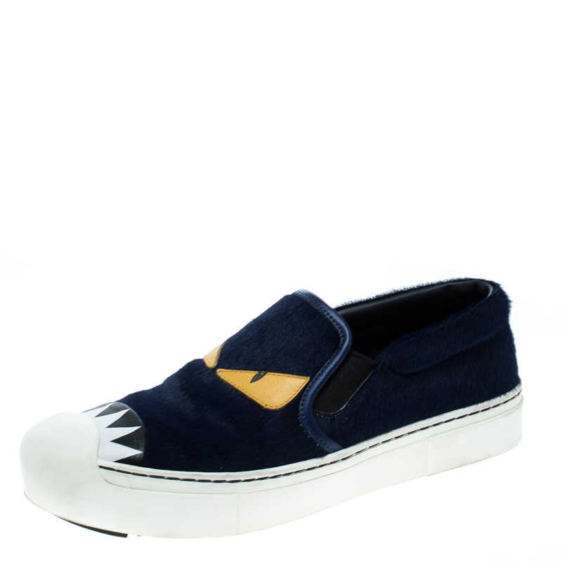 11a568c8 Fendi Blue Calfhair and Leather Monster Slip On Sneakers Size 37