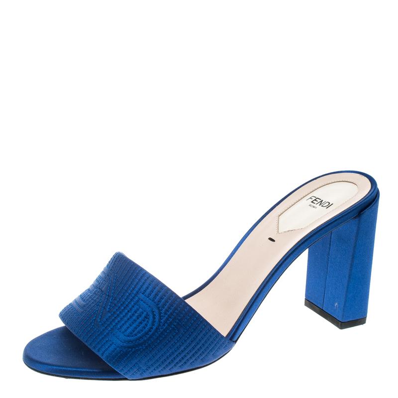 ce3052117612 Buy Fendi Blue Satin Logo Embroidered Block Heel Slide Mules Size ...