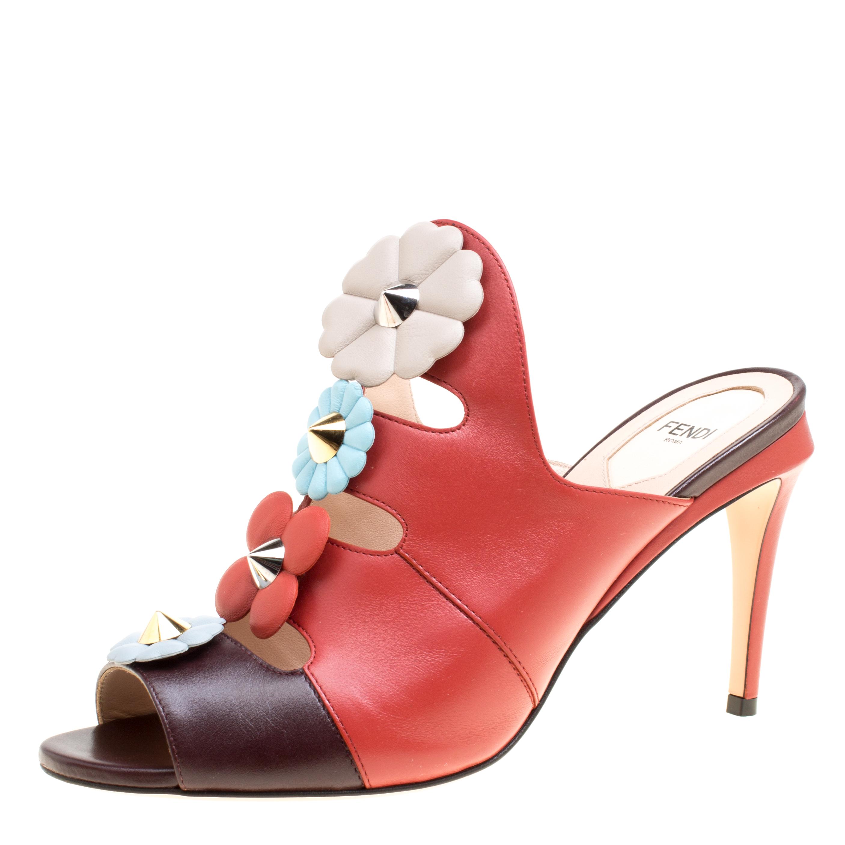 22f01480763a4c Buy Fendi Multicolor Leather Floral Applique Leather Mules Sandals ...