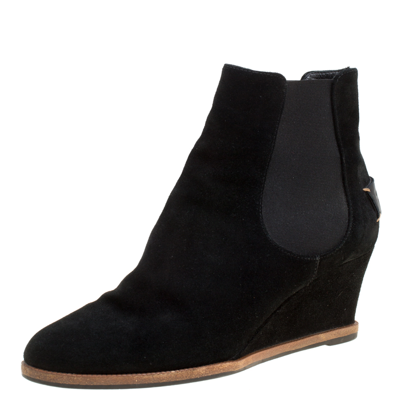 7eadf162 Fendi Black Suede Wedge Heel Ankle Boots Size 40