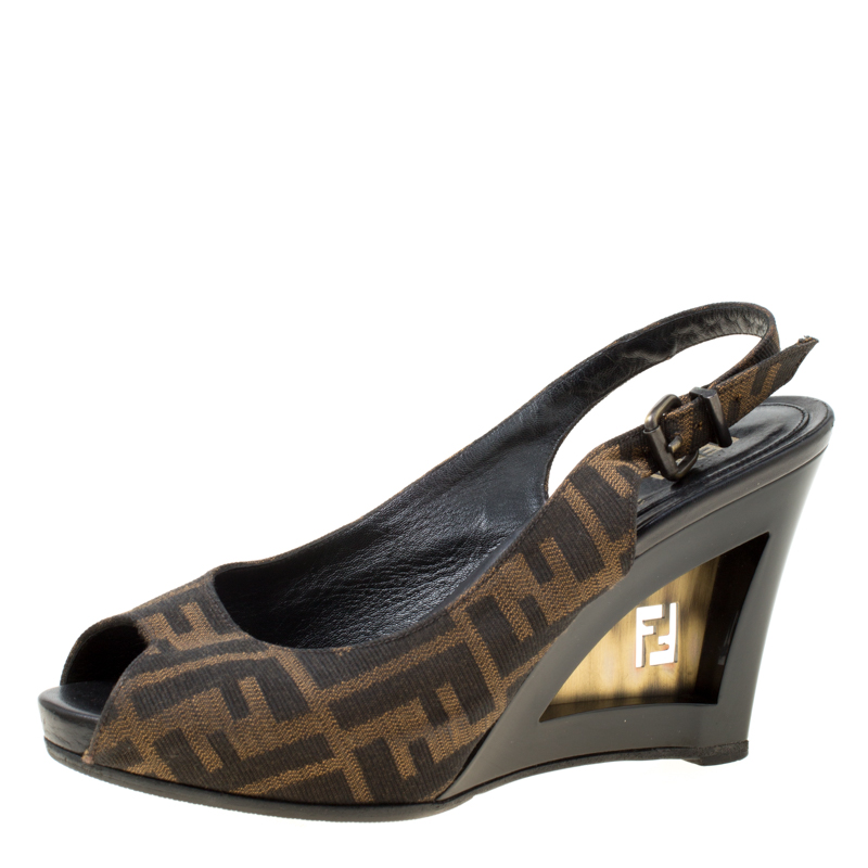 dbb025a862 Buy Fendi Brown Zucca Canvas Slingback Wedge Sandals Size 37 174600 ...