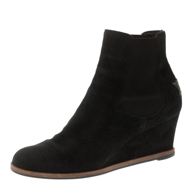 Fendi Black Suede Wedge Heel Ankle