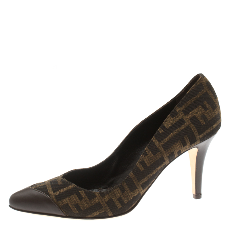 659bf18aa3c ... Fendi Brown Zucca Canvas And Leather Pointed Toe Pumps Size 40.  nextprev. prevnext
