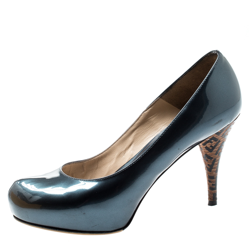 Fendi Blue Patent Leather Logo Heel Platform Pumps Size 36