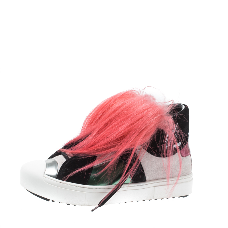 23fe62d27d Fendi Multicolor Suede And Fox Fur Karlito High Top Sneakers Size 39