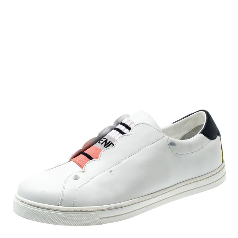 Fendi White Leather With Logo Knit