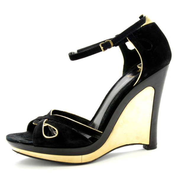 united states fast delivery genuine shoes Buy Fendi Black Metallic Suede Wedge Sandals Size 38.5 198590 at ...