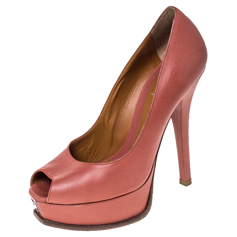 Fendi Coral Pink Leather Fendista Peep Toe Platform Pumps Size 38