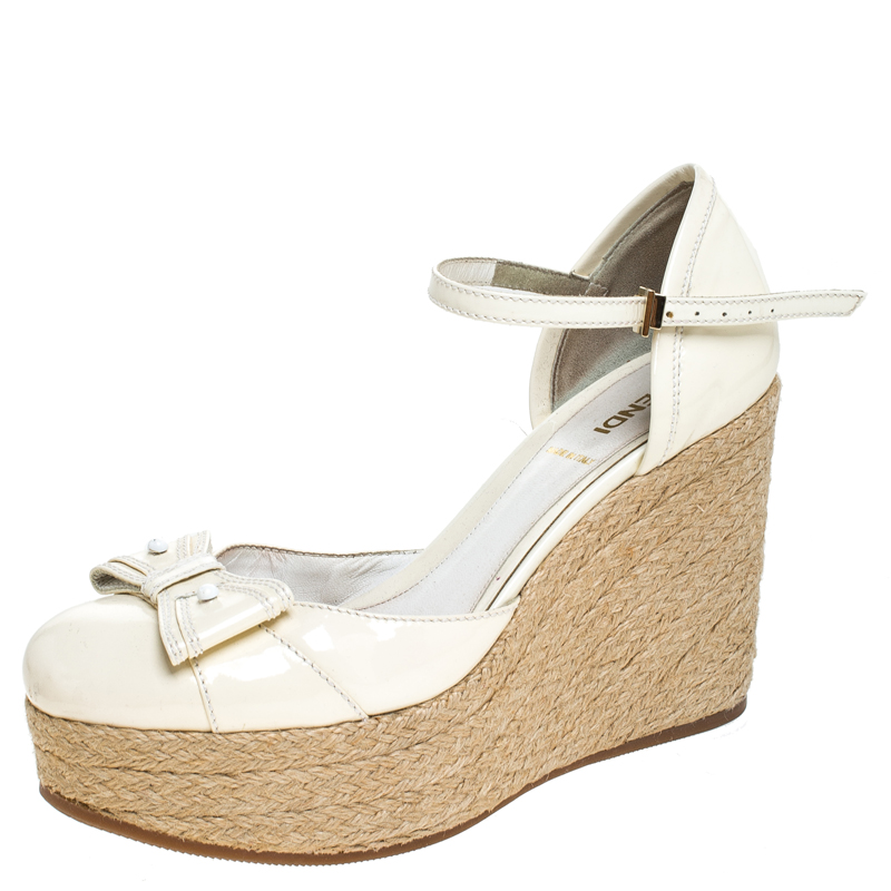 utterly stylish new style classic shoes Pre-Owned Fendi White Patent Leather Wedges Espadrille Ankle Strap ...