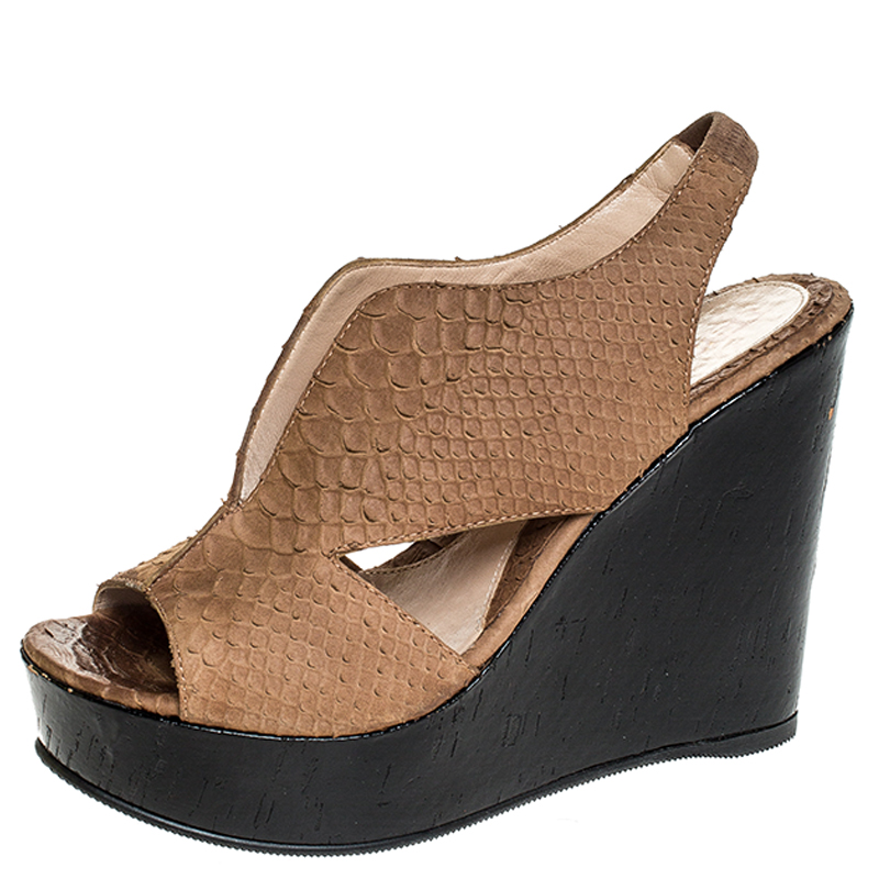 Fendi Light Brown Python Embossed Leather Slingback Platform Wedge Sandals Size 38