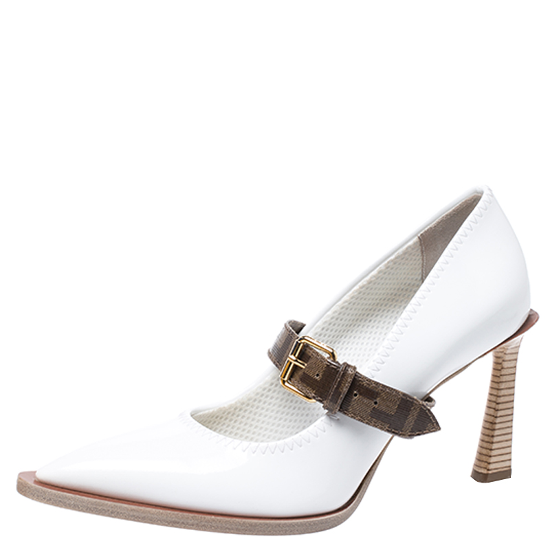 Fendi White/Brown Patent Leather Mary Jane Oversized Sole Pumps Size 40