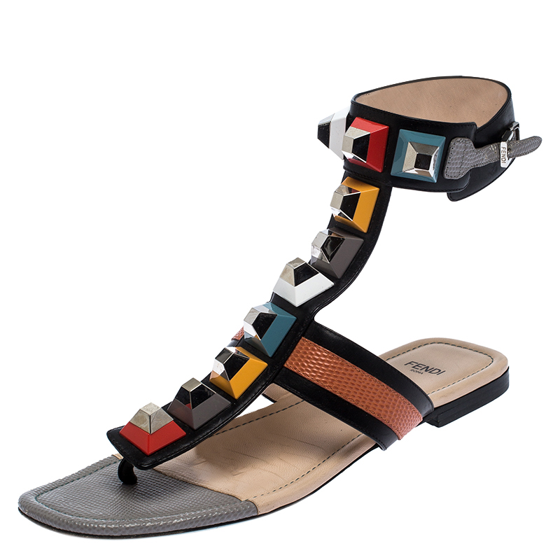 Fendi Multicolor Leather And Lizard Embossed Studded Ankle Cuff Flat Sandals Size 37.5
