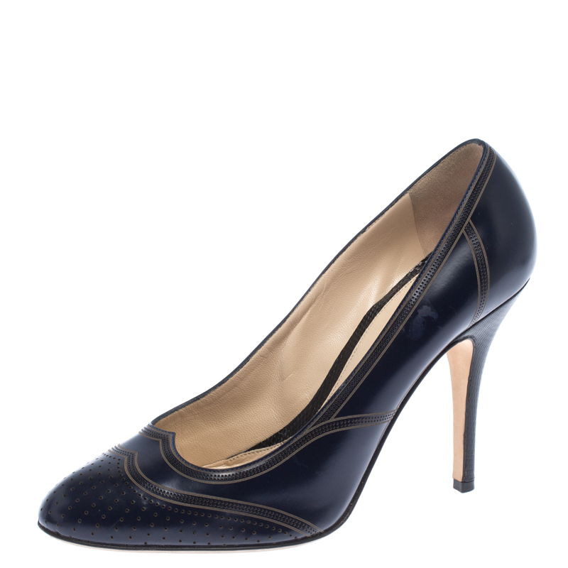 Fendi Blue Leather Perforated Brogue Detail Pumps Size 40