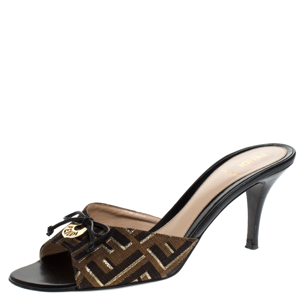 Fendi Brown/Gold Zucca Canvas and Leather Bow Slides Size 40