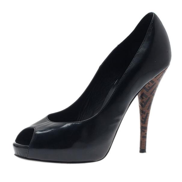 a7a1a5cf2d ... Fendi Black Patent Leather Zucca Print Heel Peep Toe Pumps Size 37.5.  nextprev. prevnext