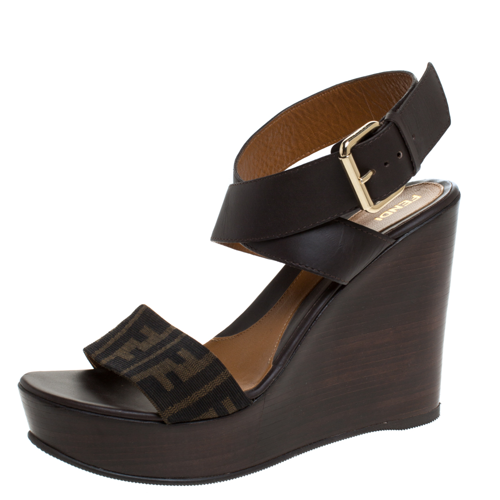 Fendi Brown/Beige Zucca Canvas and Leather Platform Wedge Cross Ankle Strap Sandals Size 40