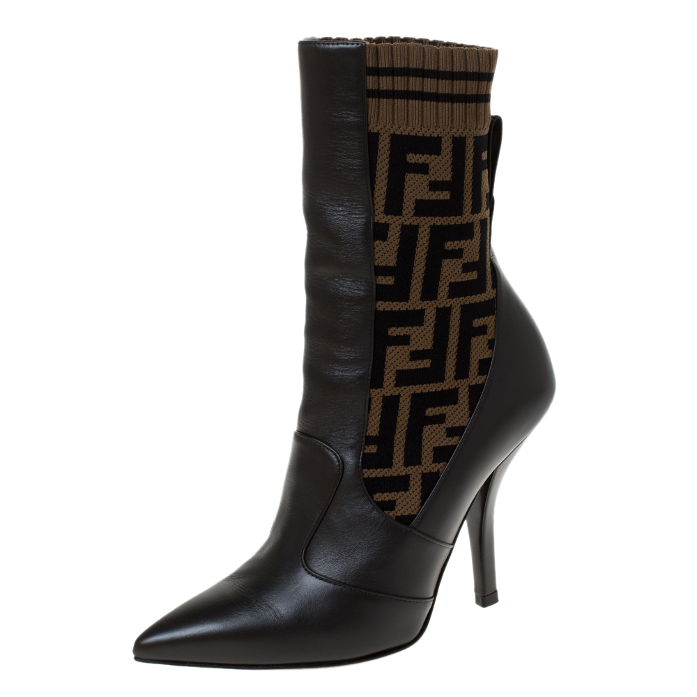 Fendi Brown Leather and Fabric Pointed Toe Ankle Boots Size 36