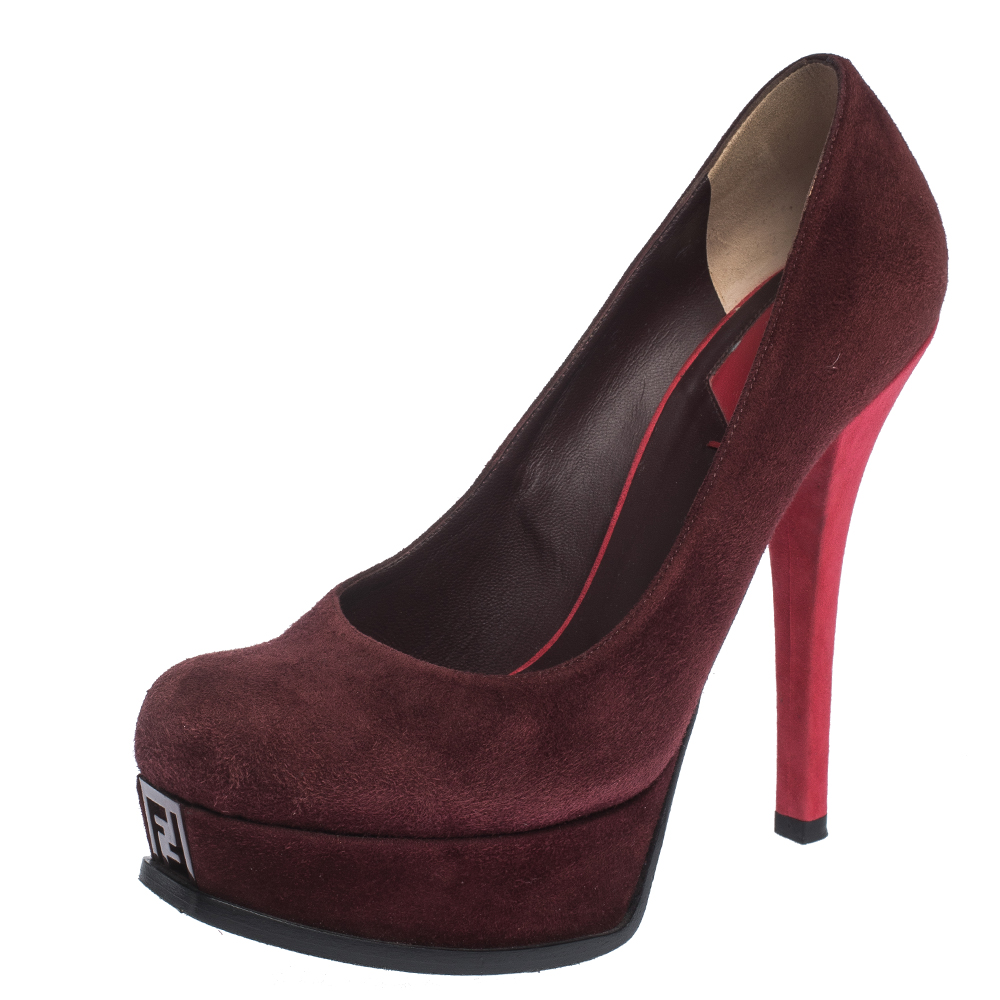 Fendi Burgundy/Red Suede Fendista Round Toe Platform Pumps Size 39