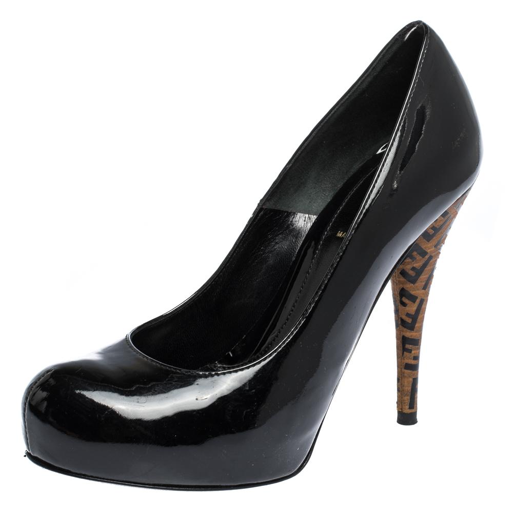 Fendi Black Patent Leather Zucca Heel Platform Pumps Size 37