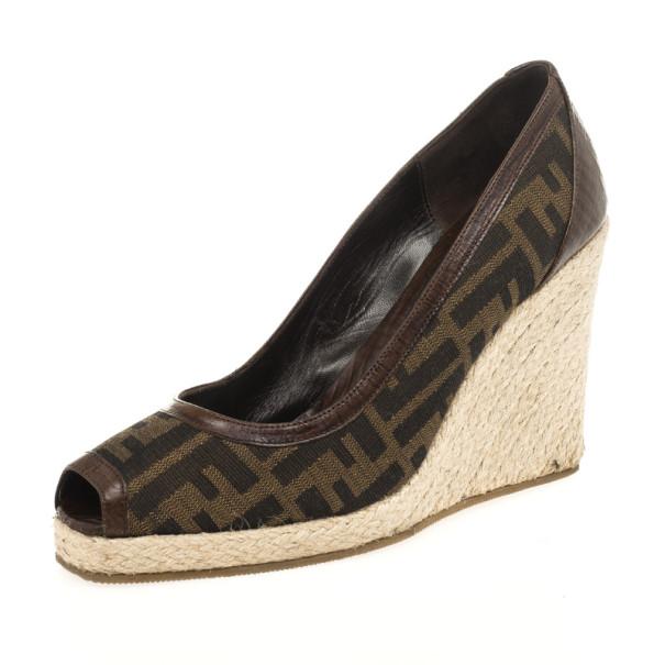 really comfortable good looking more photos Fendi Zucca Canvas Peep Toe Espadrilles Wedges Size 39 Fendi | TLC