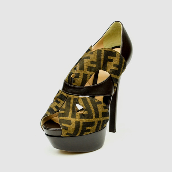 Fendi Zucca 'Liberty' Peep Toe Platform Pumps Size 37