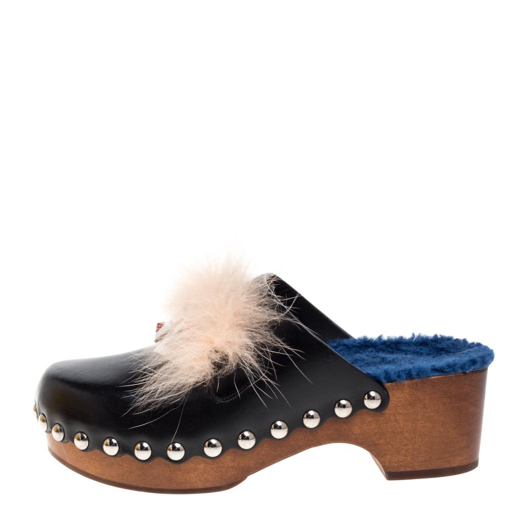 Fendi Black Leather and Fur Trim Hypnoteyes Clogs Size 36