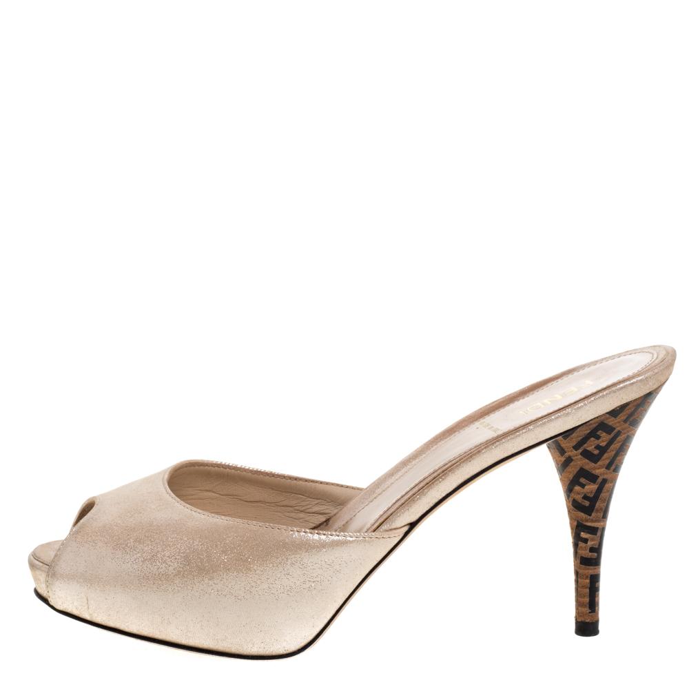 Fendi Beige Glitter Suede Leather FF Superstar Peep Toe Mule Slides Size 38.5