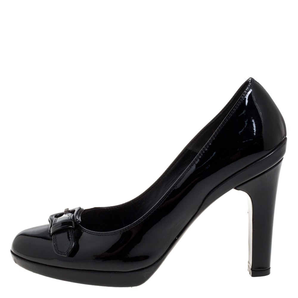 Fendi Black Patent Leather B Buckle Detail Pumps Size 37.5  - buy with discount