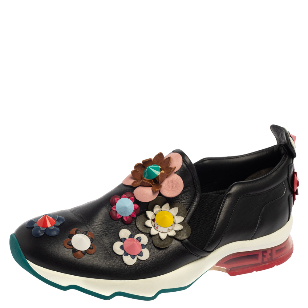 Pre-owned Fendi Black Leather Flower-embellished Sneakers Size 38