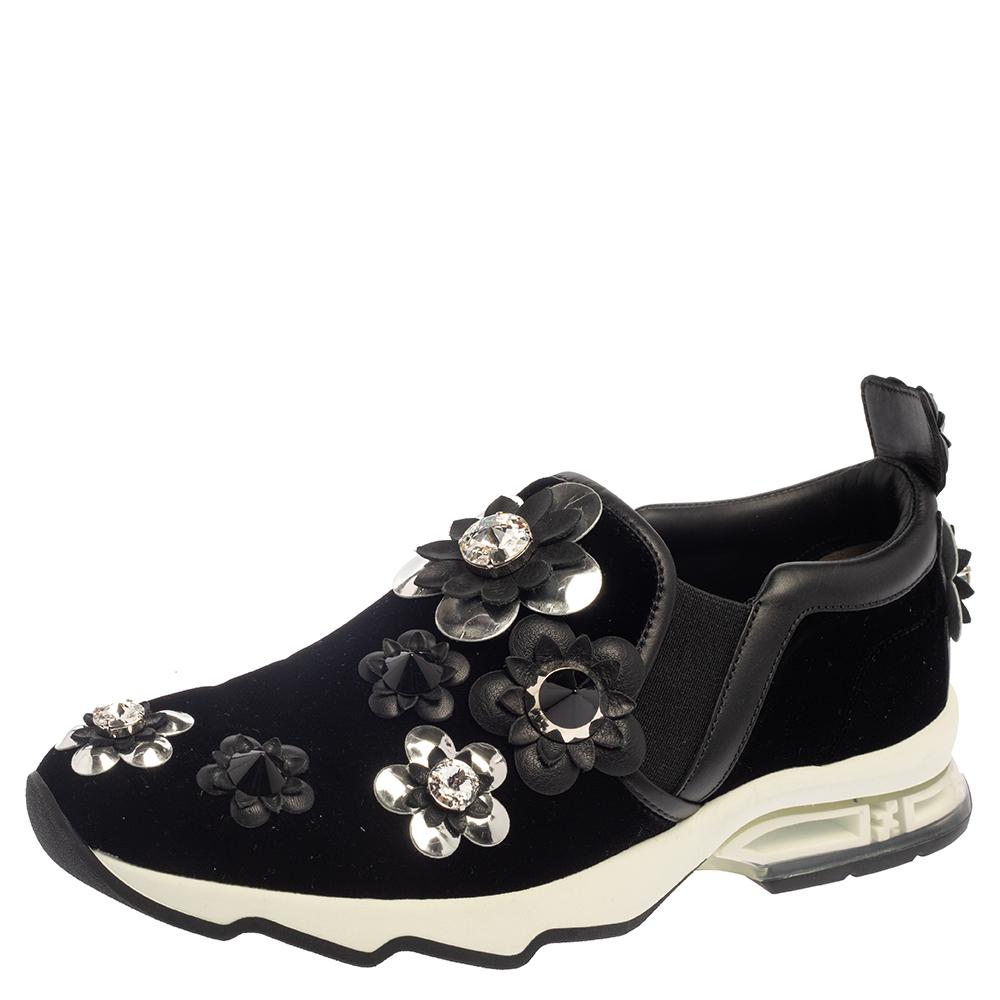 Pre-owned Fendi Black Velvet And Leather Trim Flowerland Slip On Sneakers Size 38