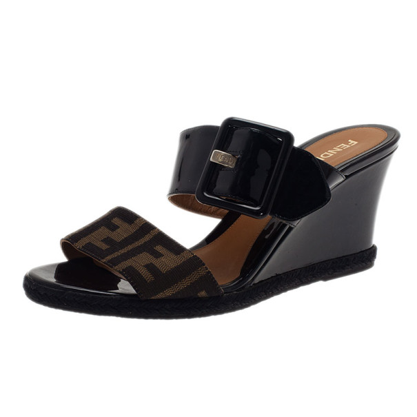 30fbbb8962db Buy Fendi Zucca Patent Demi Wedge Slides Size 38 3811 at best price ...