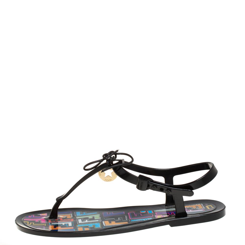 Fendi Black Rubber Ankle Strap Flats Sandals Size 41