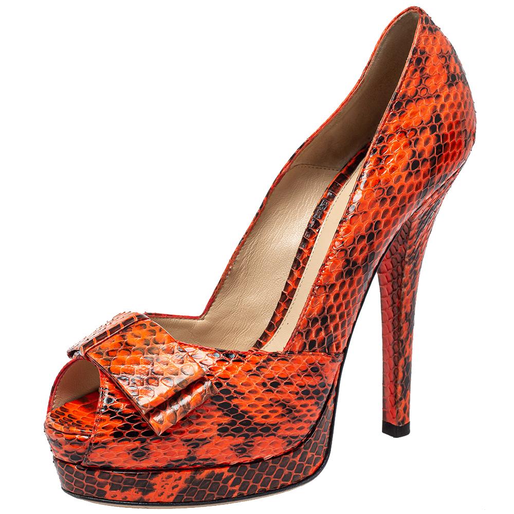 Fendi Orange/Black Python Leather Peep Toe Pumps Size 40