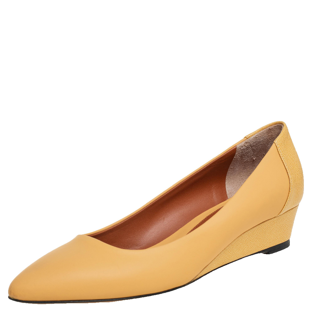 Pre-owned Fendi Yellow Leather Pointed Toe Wedge Pumps Size 38.5
