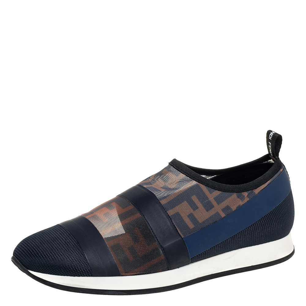 Pre-owned Fendi Multicolor Mesh And Leather Trim Runway Low Top Sneakers Size 38