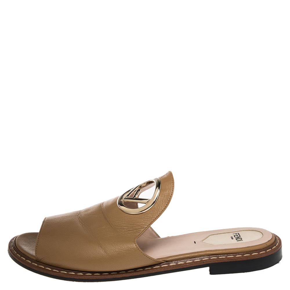 Fendi Tan Leather F Logo Open Toe Flat Mules 39.5