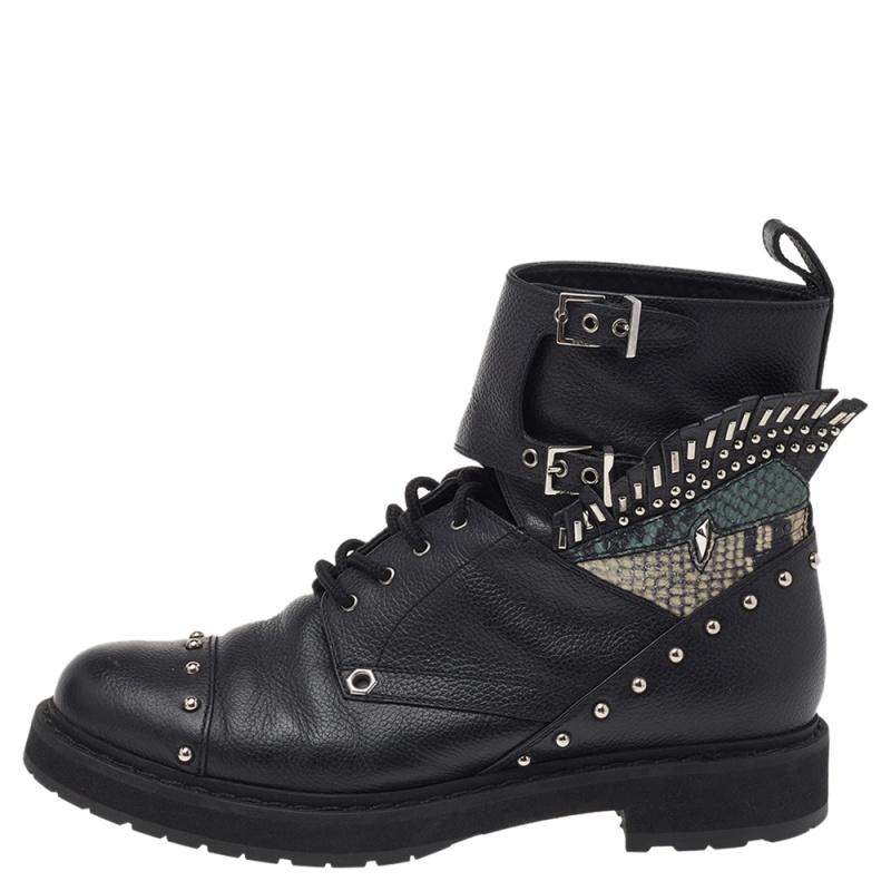 Fendi Black Leather Embellished Buckle Strap Ankle Boots Size 37