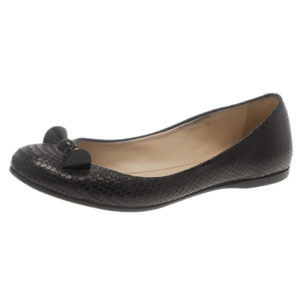 18014880c6b6a ... Fendi Black Python Embossed Ballet Flats Size 38.5. nextprev. prevnext