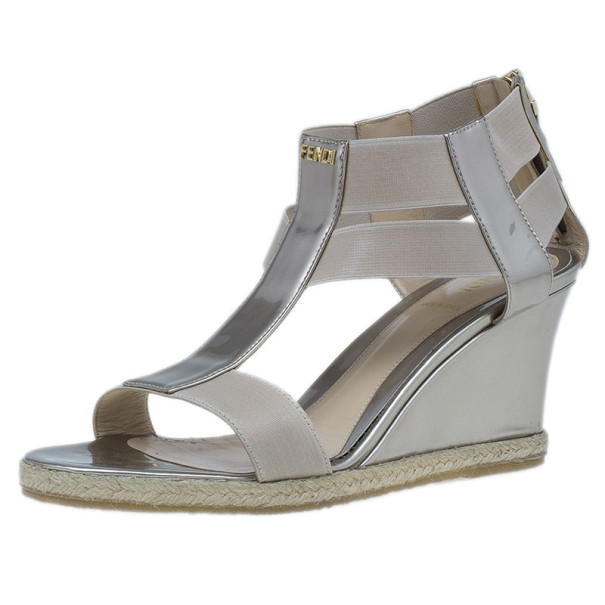 cheap for discount best sneakers quality design Fendi Metallic Leather T-Strap Espadrille Wedge Sandals Size 36 ...